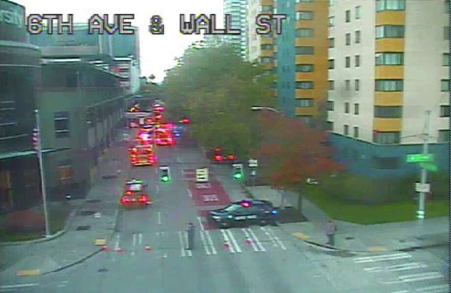 A 55-year-old woman was seriously hurt Monday morning after she was struck by a car in a crosswalk in Seattle's Belltown neighborhood. Photo: Seattle Department Of Transportation