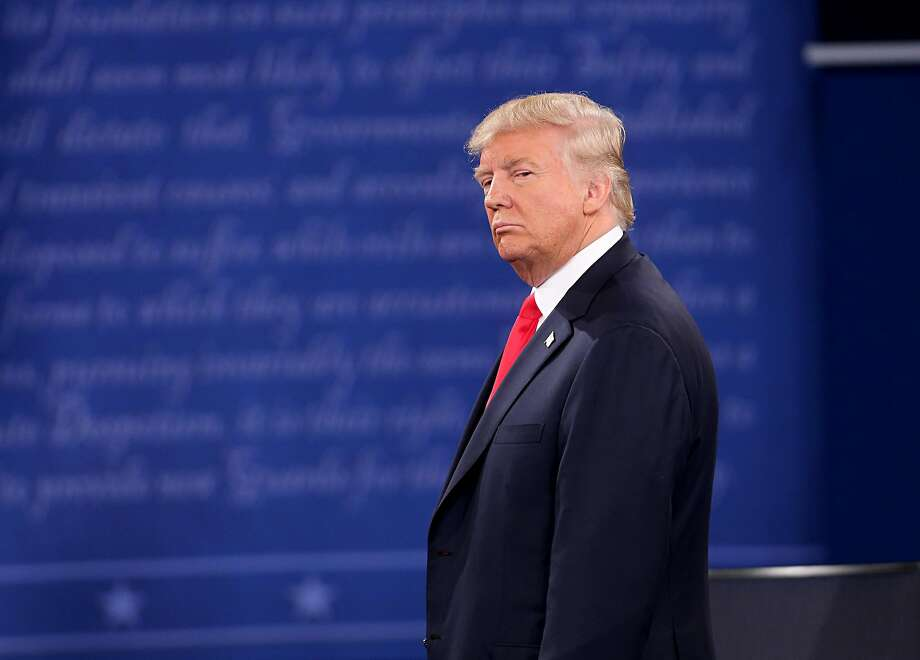 Donald Trump on stage during the second debate between the Republican and Democratic presidential candidates on Sunday, Oct. 9, 2016 at Washington University in St. Louis, Mo. (Christian Gooden/St. Louis Post-Dispatch/TNS) Photo: Christian Gooden, TNS