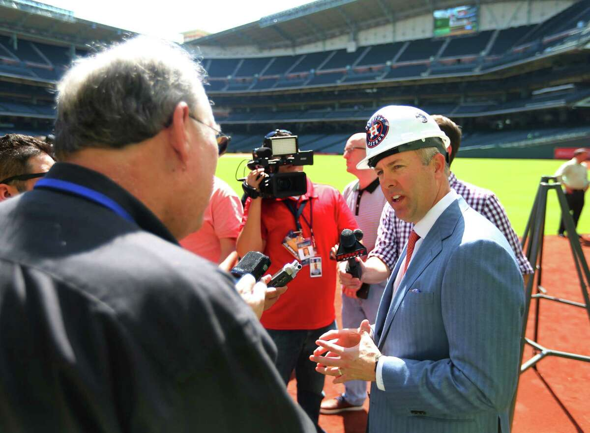 Astros president Reid Ryan speaks with members of the media Orbit following a groundbreaking ceremony at Minute Maid Park that will include the destruction of the unique outfield obstacle, Monday, Oct. 10, 2016, in Houston.