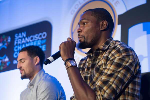 Kevin Durant speaks during the Warriors Tip-Off Luncheon in San Francisco, Calif. on Monday, Oct. 10, 2016. Steve Kerr and the warriors met some of the city's top officials during a luncheon at the Ritz Carlton.