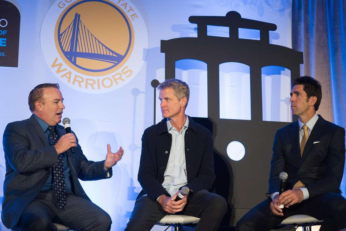 Left to right, Bob Fitzgerald, Steve Kerr and Bob Myers speak during the Warriors Tip-Off Luncheon in San Francisco, Calif. on Monday, Oct. 10, 2016. Steve Kerr and the warriors met some of the city's top officials during a luncheon at the Ritz Carlton.