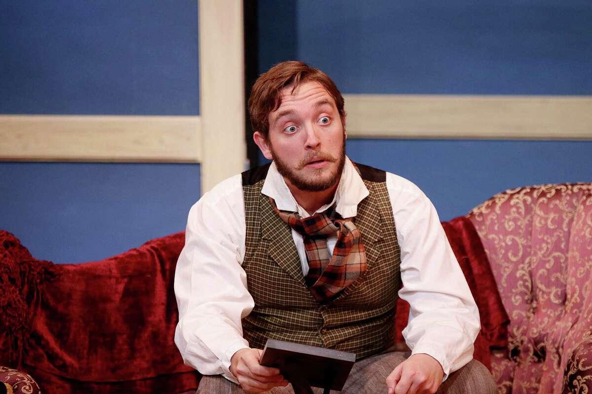 "Ben McLaughlin asGrigory Stepanovitch Smirnov in the Classical Theatre Company's ""The Bear & The Proposal."""