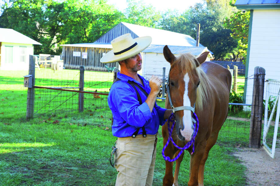 Klein ISD historian Steven Baird talks about the various aspects of the living history museum, Wunderlich Farm.  Photo: Tony Gaines