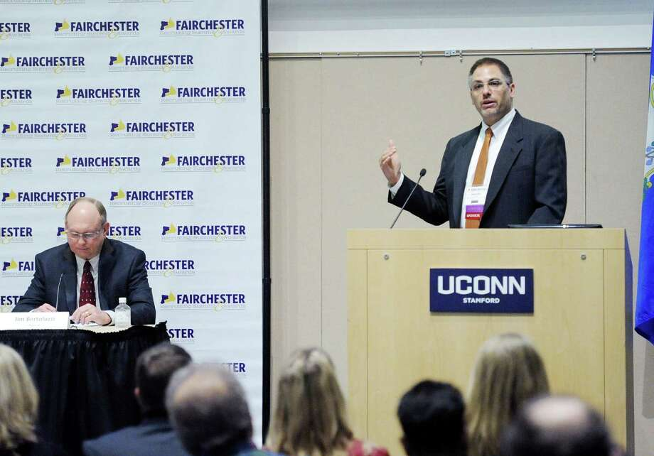 OperationsInc CEO David Lewis, right, in April 2016 at UConn Stamford at the Fairchester Recruiting Summit and Awards. Photo: Bob Luckey Jr. / Hearst Connecticut Media / Greenwich Time