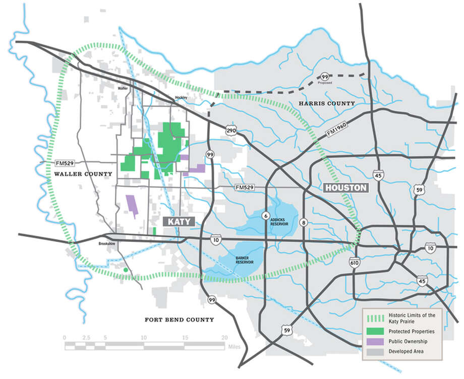 A map shows the land owned by the Katy Prairie Conservancy. Photo: Katy Prairie Conservancy