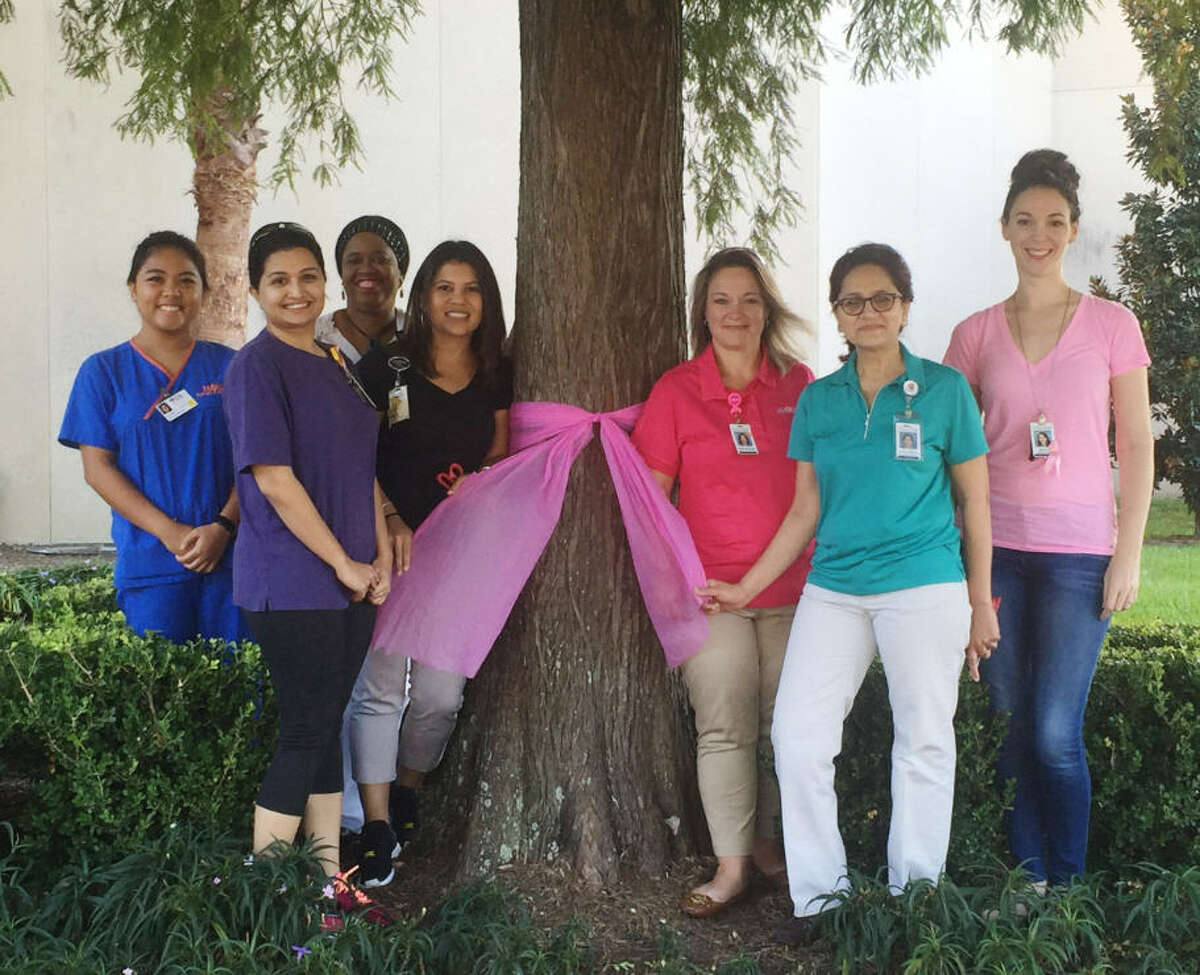 Pink Ribbons dominate the Memorial Hermann Southwest Hospital campus in recognition of Breast Cancer Awareness Month. Recently employees tied pink ribbons around each tree on the hospital'?'s campus. From left are Justine Jamilosa, Shivali Desai, Toke Ogundiya, Karina Martinez, Rena Green, Sejal Patel and Becca Gagnon.