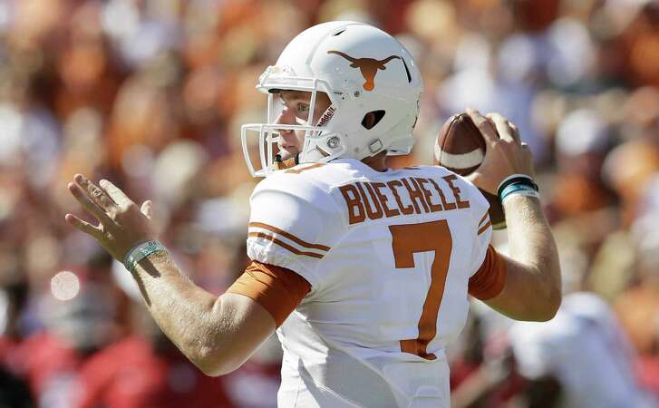Texas quarterback Shane Buechele looks to pass during the first half against Oklahoma in Dallas on Oct. 8, 2016.