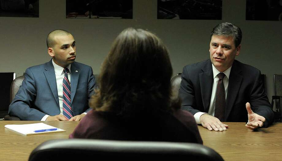 Democrat Raghib Allie-Brennan, left, and Republican Will Duff are vying for state Rep. Dan Carter's open seat in District 2. The two met with The News-Times editorial board Thursday, Oct. 6, 2016. Photo: Carol Kaliff / Hearst Connecticut Media / The News-Times