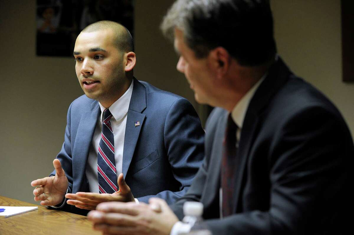Democrat Raghib Allie-Brennan, left, and Republican Will Duff are vying for state Rep. Dan Carter's open seat in District 2. The two met with The News-Times editorial board Thursday, Oct. 6, 2016.