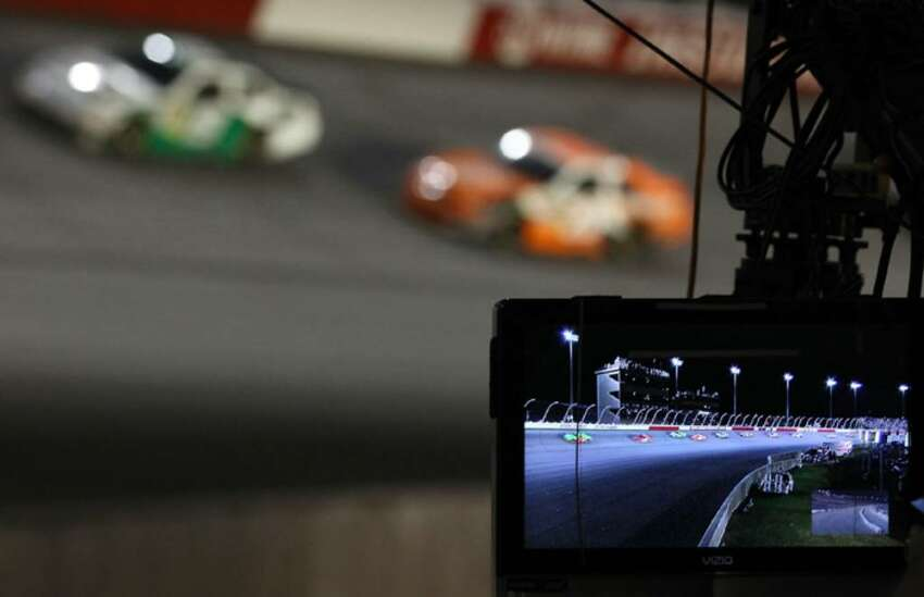DARLINGTON, SC - MAY 08: A general view of a camera shooting the NASCAR Sprint Cup series SHOWTIME Southern 500 at Darlington Raceway on May 8, 2010 in Darlington, South Carolina. (Photo by Streeter Lecka/Getty Images)