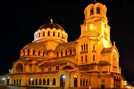 Sofia's Alexander Nevsky Cathedral, one of largest Orthodox churches in Christendom, takes on golden tones when it's floodlit at night.