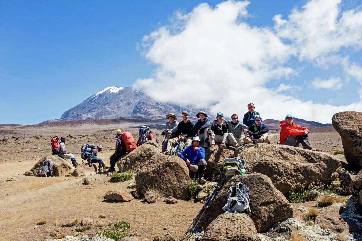 Brunswick students, led by faculty chaperones Danny Dychkowski (front) and Dan Griffin (back), took a break while approaching the final ascent of Mount Kilimanjaro in July. The group included (left to right): Dayton Kingery '16, Matt Womble '17, Brendan Forst '17, Nate Stuart '16, Christian LeSueur '17, Charlie Knight '17, and Ryan Hanrahan '17.