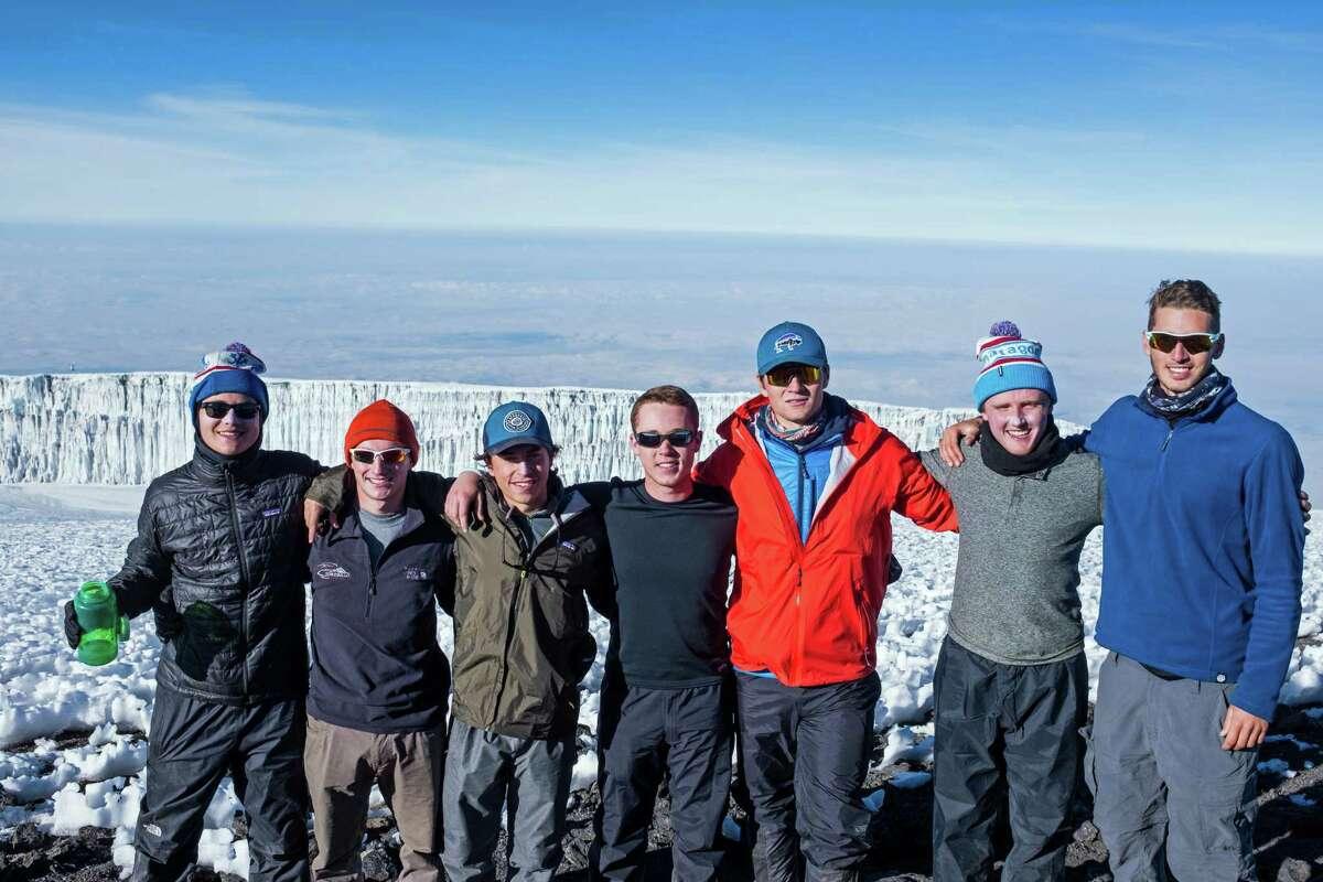 Brunswick students, atop Mount Kilimanjaro in July, included, left to right: Charlie Knight, Dayton Kingery, Nate Stuart, Brandon Forst, Ryan Hanrahan, Christian LeSueur and Matt Womble.