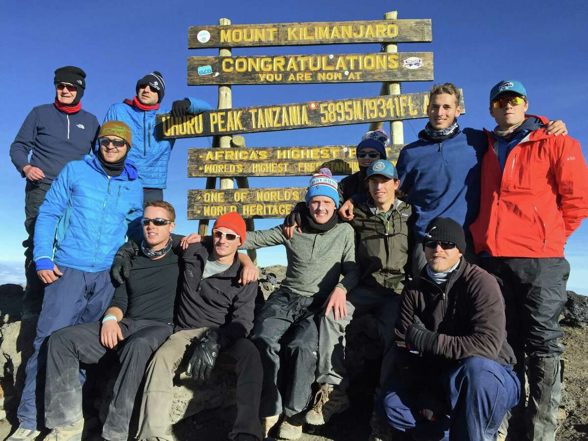 Brunswick students, led by faculty chaperones Danny Dychkowski and Dan Griffin, reached the summit of Mount Kilimanjaro in July and posed for the celebratory photo. The group included: Dayton Kingery '16, Matt Womble '17, Brendan Forst '17, Nate Stuart '16, Christian LeSueur '17, Charlie Knight '17, and Ryan Hanrahan '17.