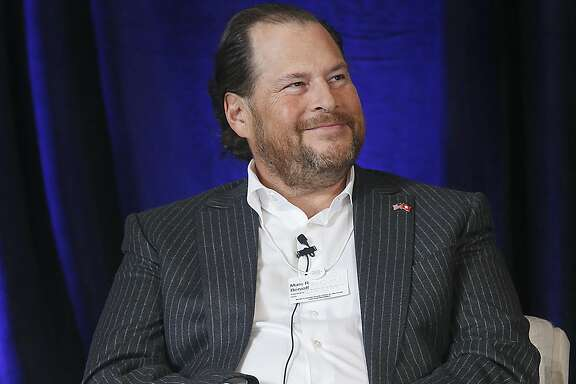 CEO Marc Benioff of Salesforce.com speaks at The World Economic Forum for the Fourth Industrilal Revolution at the Presidio on Monday, October 10, 2016, in San Francisco, Calif. on Monday, October 10, 2016, in San Francisco, Calif.