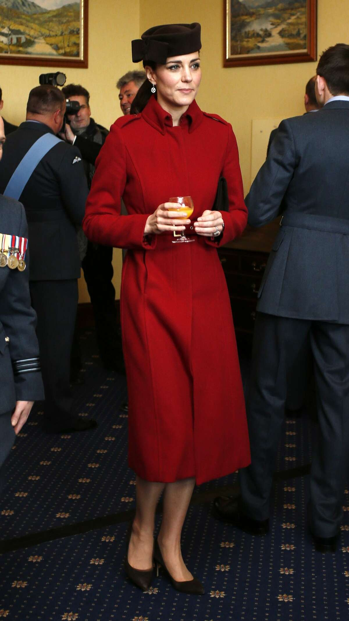 Catherine, Duchess of Cambridge attends a reception following the ceremony marking the end of RAF Search and Rescue (SAR) Force operations during a visit to RAF Valley on February 18, 2016 in Anglesey, Wales.