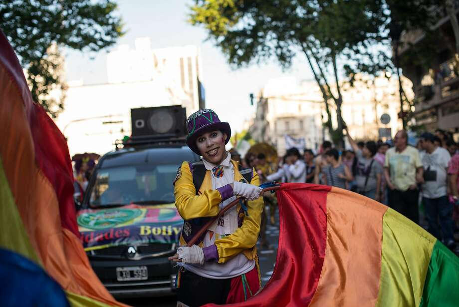 Thousands of people gather every year in Argentina to celebrate gay pride and march toward Congress Square demanding political rights for lesbians, gays, bisexuals and transgender people. Photo: Getty Images, LightRocket Via Getty Images