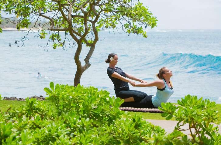 Yoga at Turtle Bay resort on Oahu.