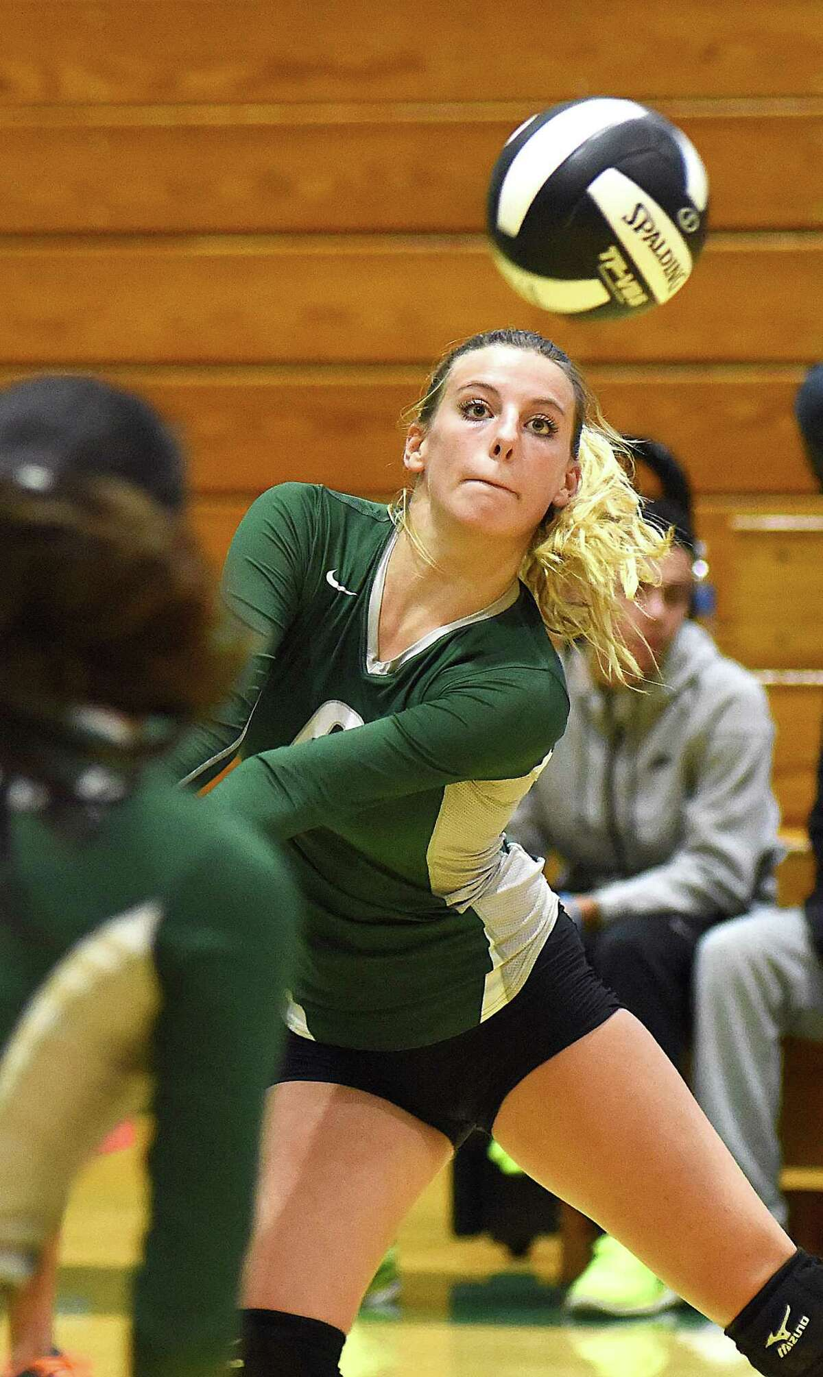 Amanda Beckwith of Norwalk keeps her eye on the ball as she prepares to bump it to her setter during Monday's non-conference volleyball match against Bunnell at Scarso Gym in Norwalk.