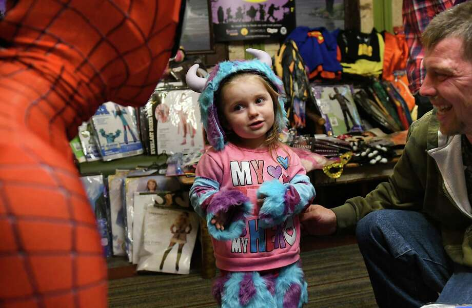 isabelle knapp 2 of catskill has a chat with spiderman as volunteers from 14 - Halloween Stores In Albany Ny