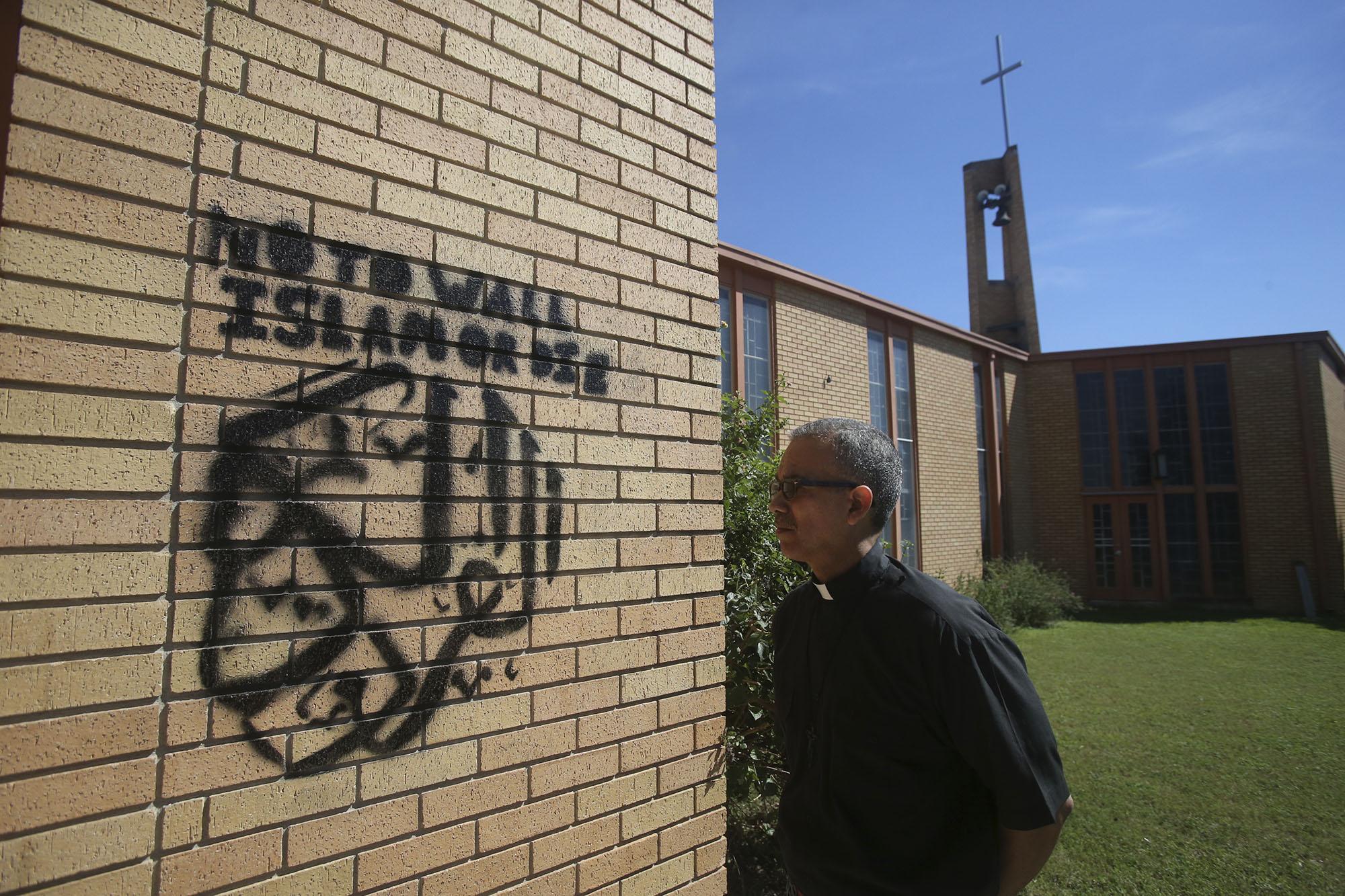 Graffiti Defaces San Antonio Church With No To Wall And