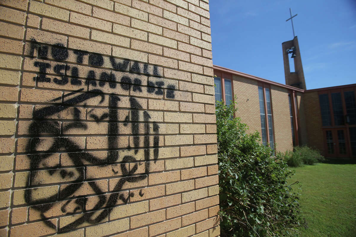 This is graffiti Monday October 10, 2016 that was painted on a wall at Gethsemane Lutheran Church at 610 Avalon. Police are investigating the incident.