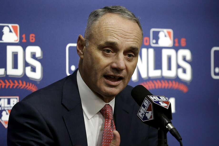 Major League Baseball Commissioner Rob Manfred speaks at a news conference before Game 3 of baseball's National League Division Series between the San Francisco Giants and the Chicago Cubs in San Francisco, Monday, Oct. 10, 2016. (AP Photo/Ben Margot) Photo: Ben Margot, Associated Press