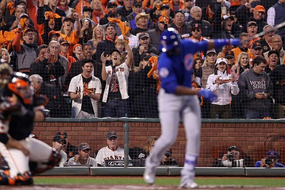 San Francisco Giants' fans cheer as Chicago Cubs' Jorge Soler strikes out with a runner on third base to end top of 1st inning during Game 3 of the National League Division Series at AT&T Park in San Francisco, Calif., on Monday, October 10, 2016. Photo: Scott Strazzante, The Chronicle