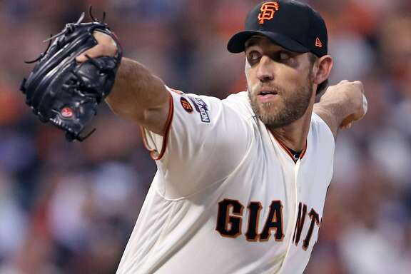 San Francisco Giants' Madison Bumgarner pitches to Chicago Cubs in 1st inning during Game 3 of the National League Division Series at AT&T Park in San Francisco, Calif., on Monday, October 10, 2016.