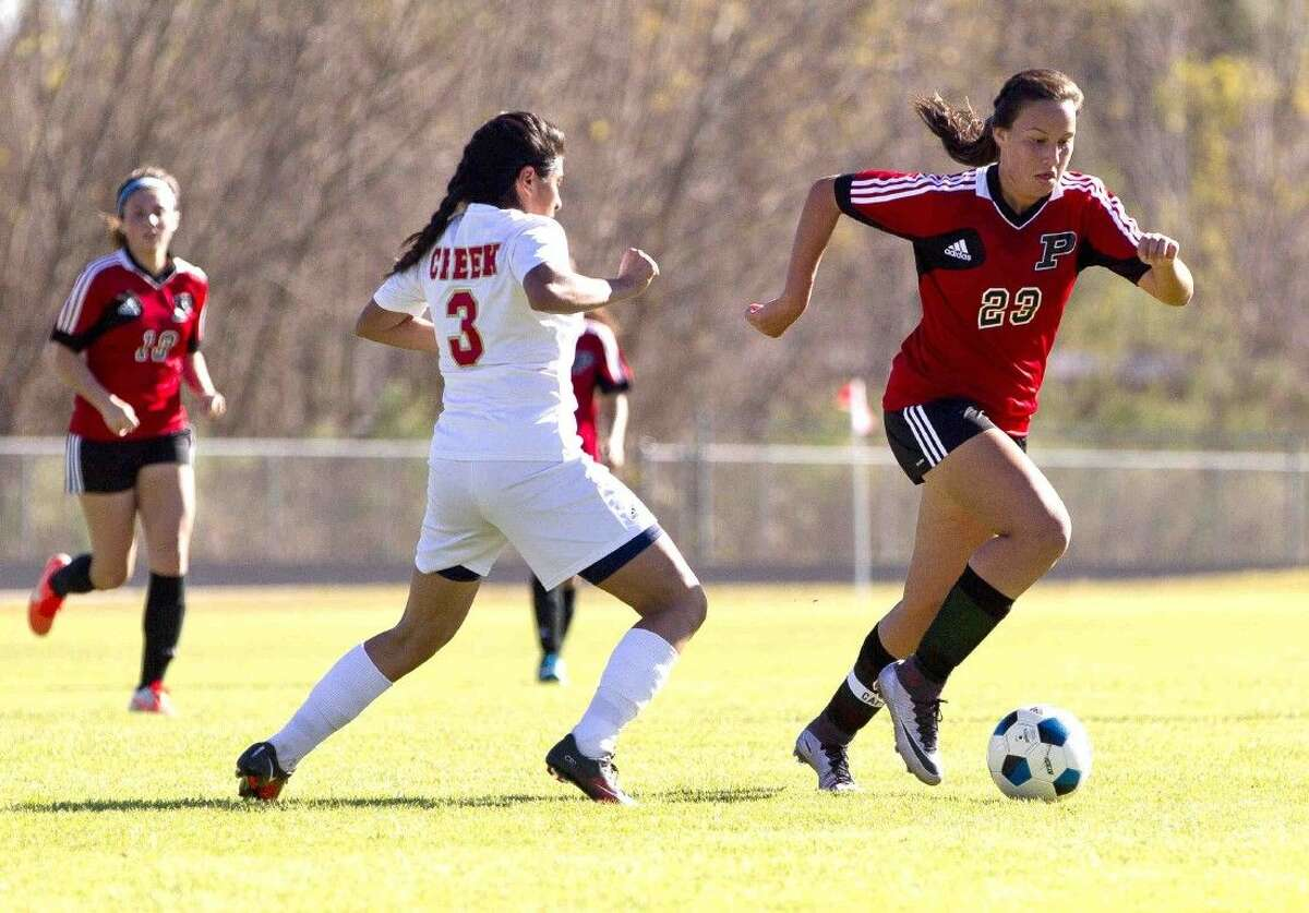 Porter's Kimberly Rodriguez (right) is a member of the Preseason All-Greater Houston soccer team. Along with Atascocita's Kelsey Brann, she represented Mexico at the U-17 World Cup in Jordan last year.