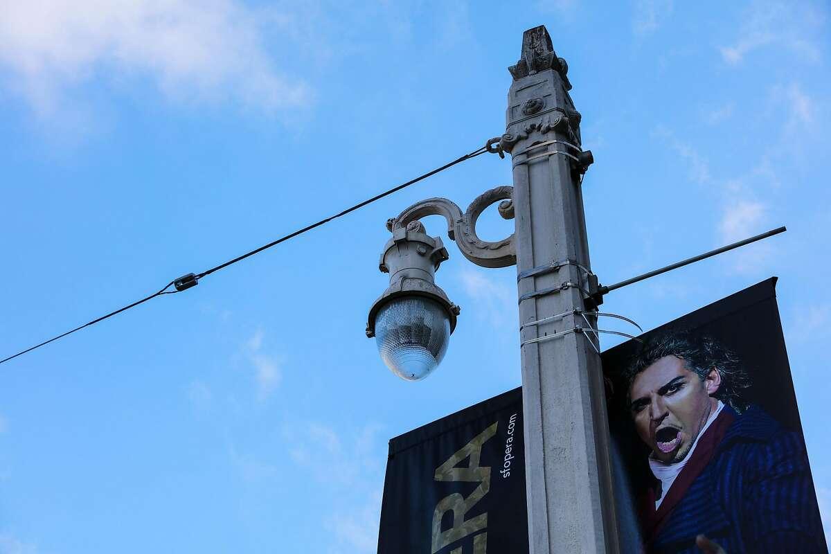 A historic street lamp is seen on Van Ness Avenue, in San Francisco, California, on Monday, Oct. 10, 2016.