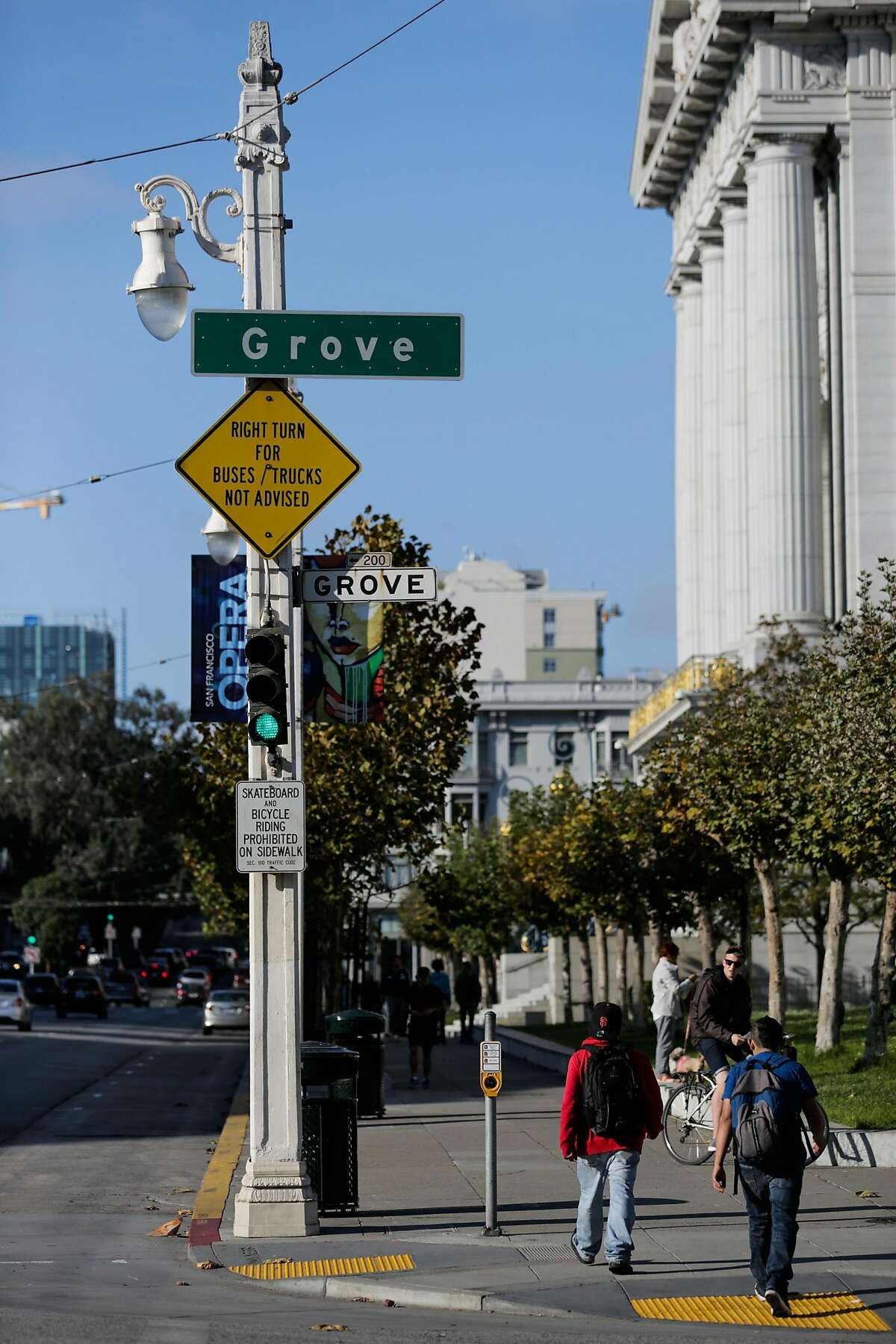 A historic street lamp is seen on Van Ness Avenue and Grove Street in San Francisco, California, on Monday, Oct. 10, 2016.