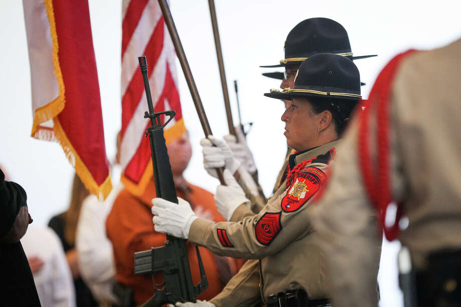 Members of the Montgomery County Sheriff's Office honor guard present the colors during the opening ceremonies of the 28th annual Texas Crime Stoppers Conference on Monday at La Torretta Lake Resort & Spa. Photo: Michael Minasi, Staff / © 2016 Houston Chronicle