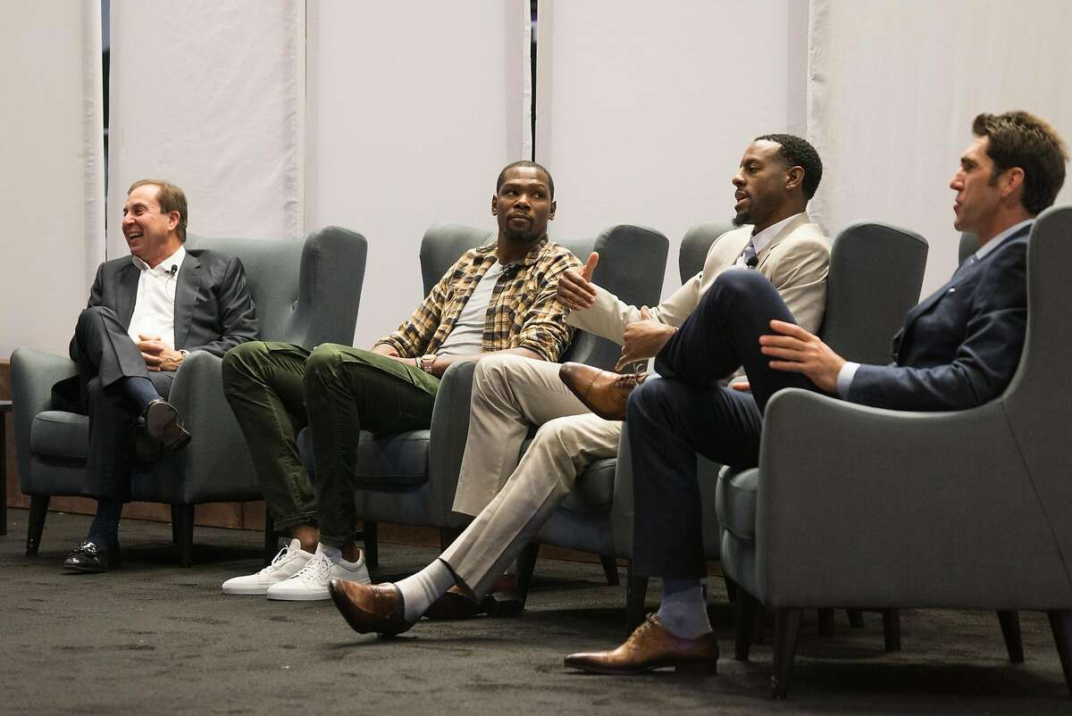 Left to right, Joe Lacob, Kevin Durant, Andre Iguodala and Bob Myers participate in a panel discussion during the Encore Awards at Stanford University in Palo Alto, Calif. on Monday, Oct. 10, 2016. The Golden State Warriors were given the Encore Award. Past recipients of the Encore Award include Tesla, Netflix and Linkedin.