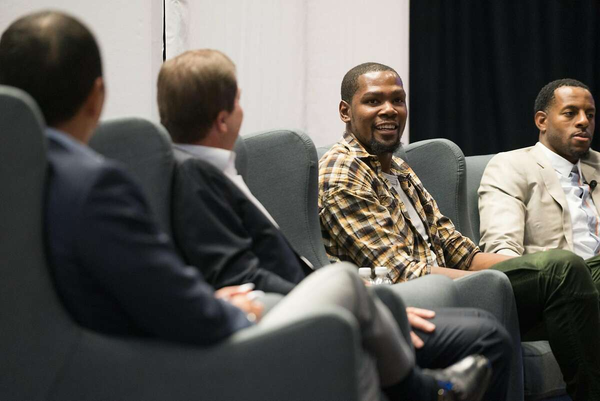 Left to right, Geoff Yang, Joe Lacob, Kevin Durant and Andre Iguodala participate in a panel discussion during the Encore Awards at Stanford University in Palo Alto, Calif. on Monday, Oct. 10, 2016. The Golden State Warriors were given the Encore Award. Past recipients of the Encore Award include Tesla, Netflix and Linkedin.