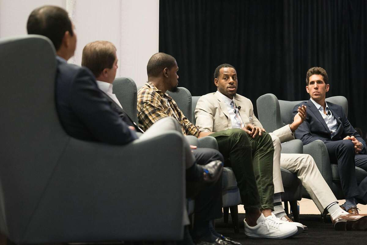 Left to right, Geoff Yang, Joe Lacob, Kevin Durant, Andre Iguodala and Bob Myers participate in a panel discussion during the Encore Awards at Stanford University in Palo Alto, Calif. on Monday, Oct. 10, 2016. The Golden State Warriors were given the Encore Award. Past recipients of the Encore Award include Tesla, Netflix and Linkedin.