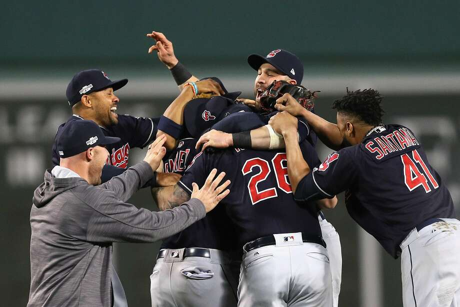 The Cleveland Indians celebrate after defeating the Boston Red Sox 4-3 in Game 3 of the AL Division Series. It was the franchise's first playoff series victory in nine years. Photo: Maddie Meyer, Getty Images