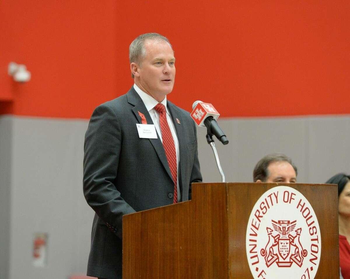 University of Houston Vice President for Athletics Hunter Yurachek speaks during the Guy V. Lewis Development Facility Dedication, April 3 at the University of Houston.