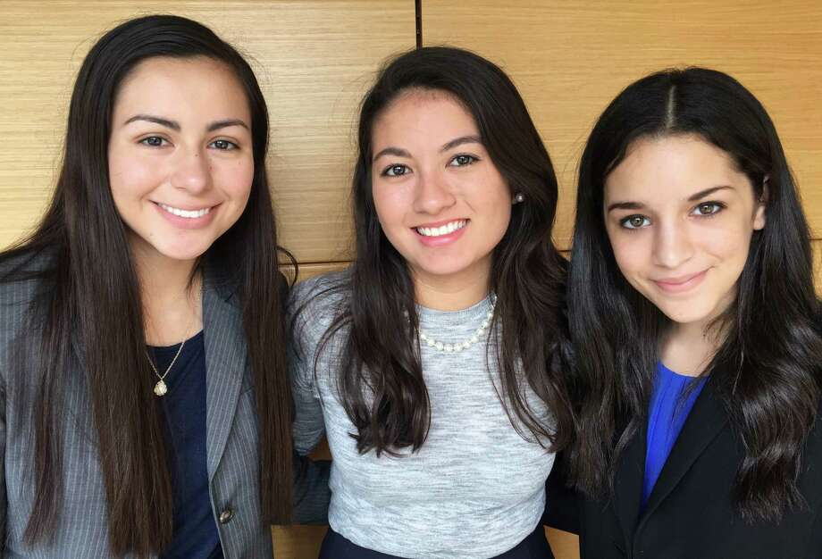 Kingwood High School sophomores Emily Grantham and Leila Saklou along with Colette Faulkner, center,  were selected to participate on the USA Debate Development Team. Photo: Jennifer Summer