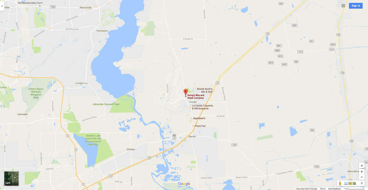 A screenshot of a Google Maps image of Going's BBQ & Steak Co. in Crosby, Texas. On Oct. 11, 2016, a Houston-area law enforcement officer said the restaurant played the popular N.W.A song