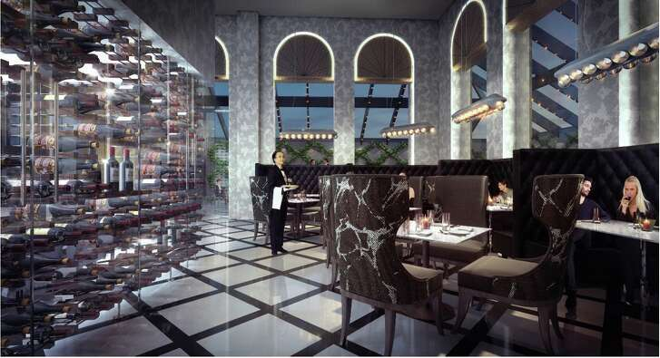 Renderings of the interior of Osso restaurant being planned for 500 Crawford in downtown Houston.