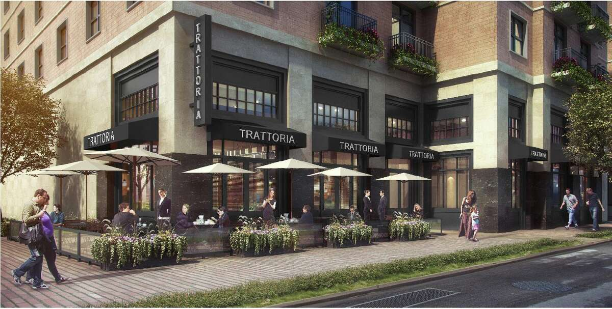 Renderings of the exterior of Kristalla restaurant being planned for 500 Crawford in downtown Houston.