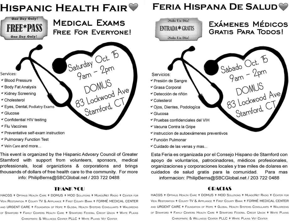 Health screenings, vaccinations and other services will be offered to all comers at the 23 rd  annual Hispanic Health & Heritage Fair will be held from 9 a.m. to 2 p.m. Saturday Oct. 15 at DOMUS Kids at 83 Lockwood Avenue. Admission is free. Photo: /