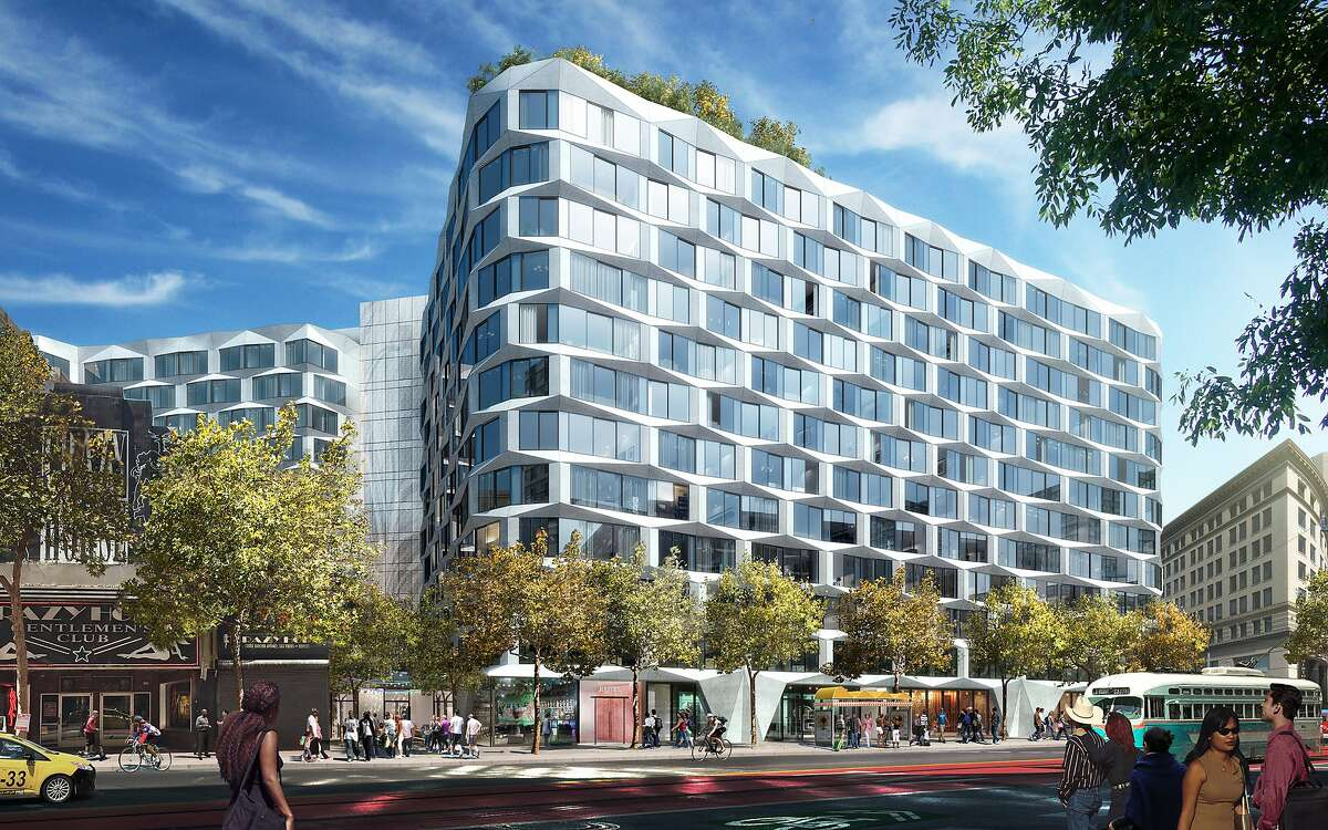 A Market Street view of the proposed 950-974 Market St. building, which is designed by Handel Architects but taking cues from the original concept by Bjarke Ingels Group for the prominent site.