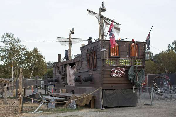 Sets are seen at the Pirates of Emerson haunted theme park at the Alameda County Fairgrounds in Pleasanton, Calif., on Saturday, October 8, 2016.