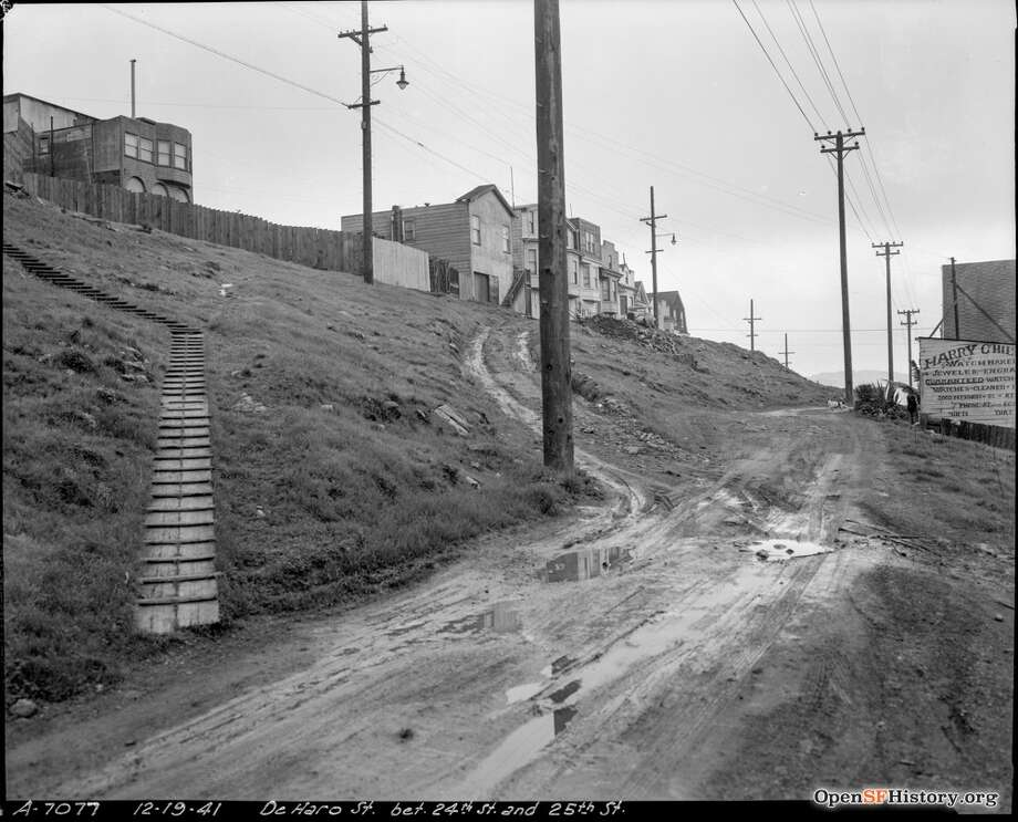 DeHaro St. between 24th and 25th St. Dec 19, 1941, Department of Public Works strudy prior to paving. [DPW A7077]. Courtesy of OpenSFHistory.org. Photo: Courtesy Of OpenSFHistory.org