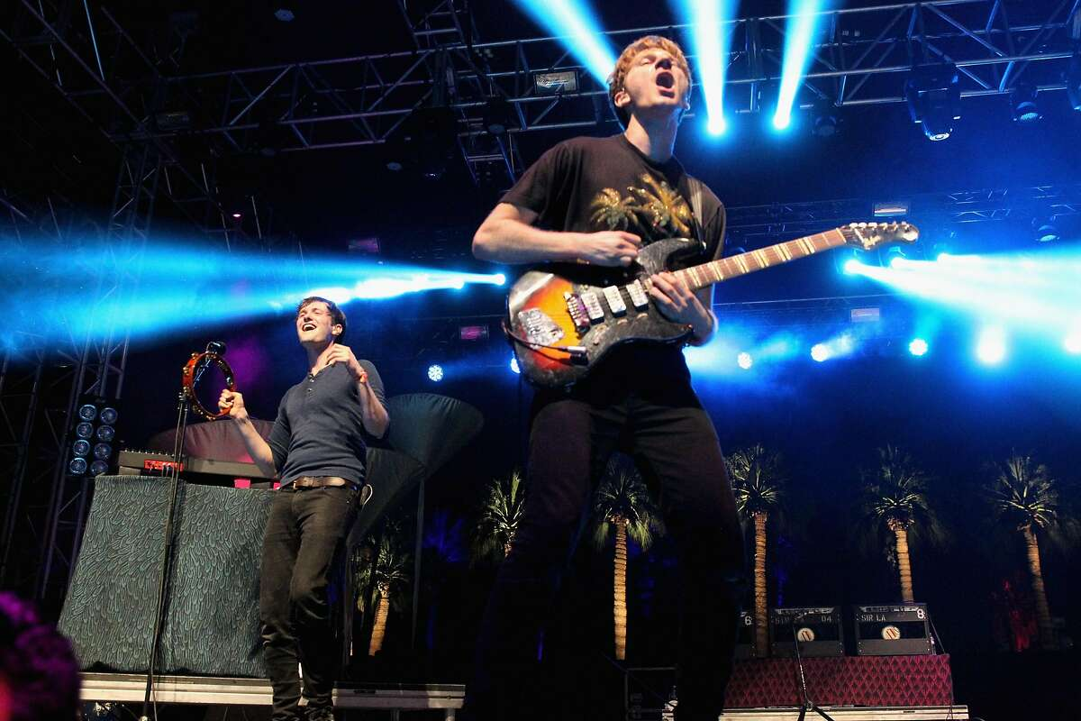 INDIO, CA - APRIL 11: Musician Dave Bayley of Glass Animals performs onstage during day 2 of the 2015 Coachella Valley Music & Arts Festival (Weekend 1) at the Empire Polo Club on April 11, 2015 in Indio, California. (Photo by Karl Walter/Getty Images)