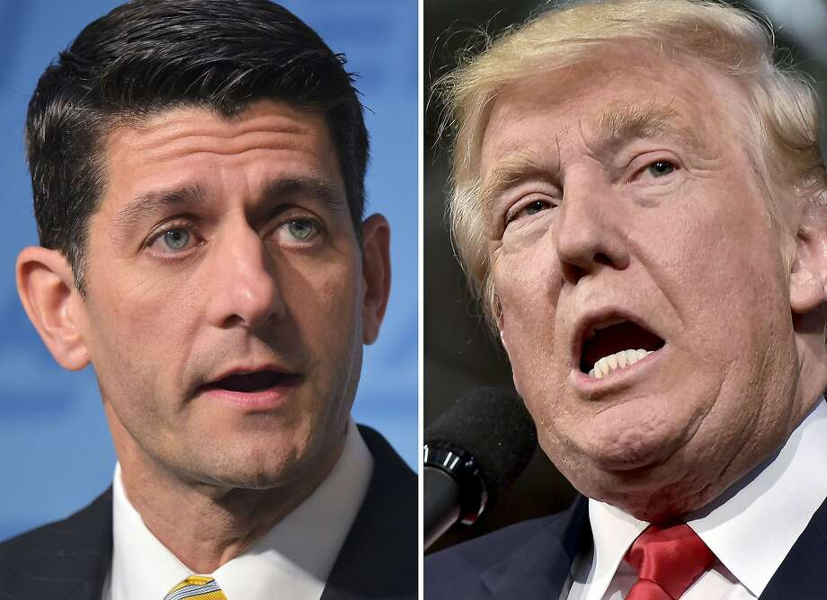 """This combination of photos shows Republican presidential nominee Donald Trump(R) on October 10, 2016 and Speaker of the House Paul Ryan, R-WI, on June 22, 2016. US House Speaker Paul Ryan, the nation's top elected Republican, told lawmakers October 10, 2016 he will no longer """"defend"""" or campaign with presidential nominee Donald Trump, focusing instead on maintaining his party's majority in Congress. / AFP PHOTO / DESKDESK/AFP/Getty Images Photo: DESK, AFP/Getty Images"""