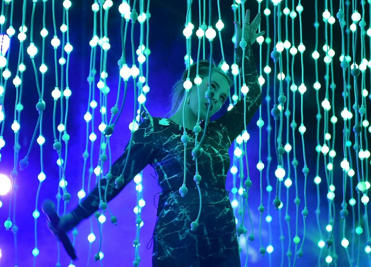 INDIO, CA - APRIL 15: Musician Megan James of Purity Ring performs onstage during day 1 of the 2016 Coachella Valley Music & Arts Festival Weekend 1 at the Empire Polo Club on April 15, 2016 in Indio, California. (Photo by Mike Windle/Getty Images for Coachella)