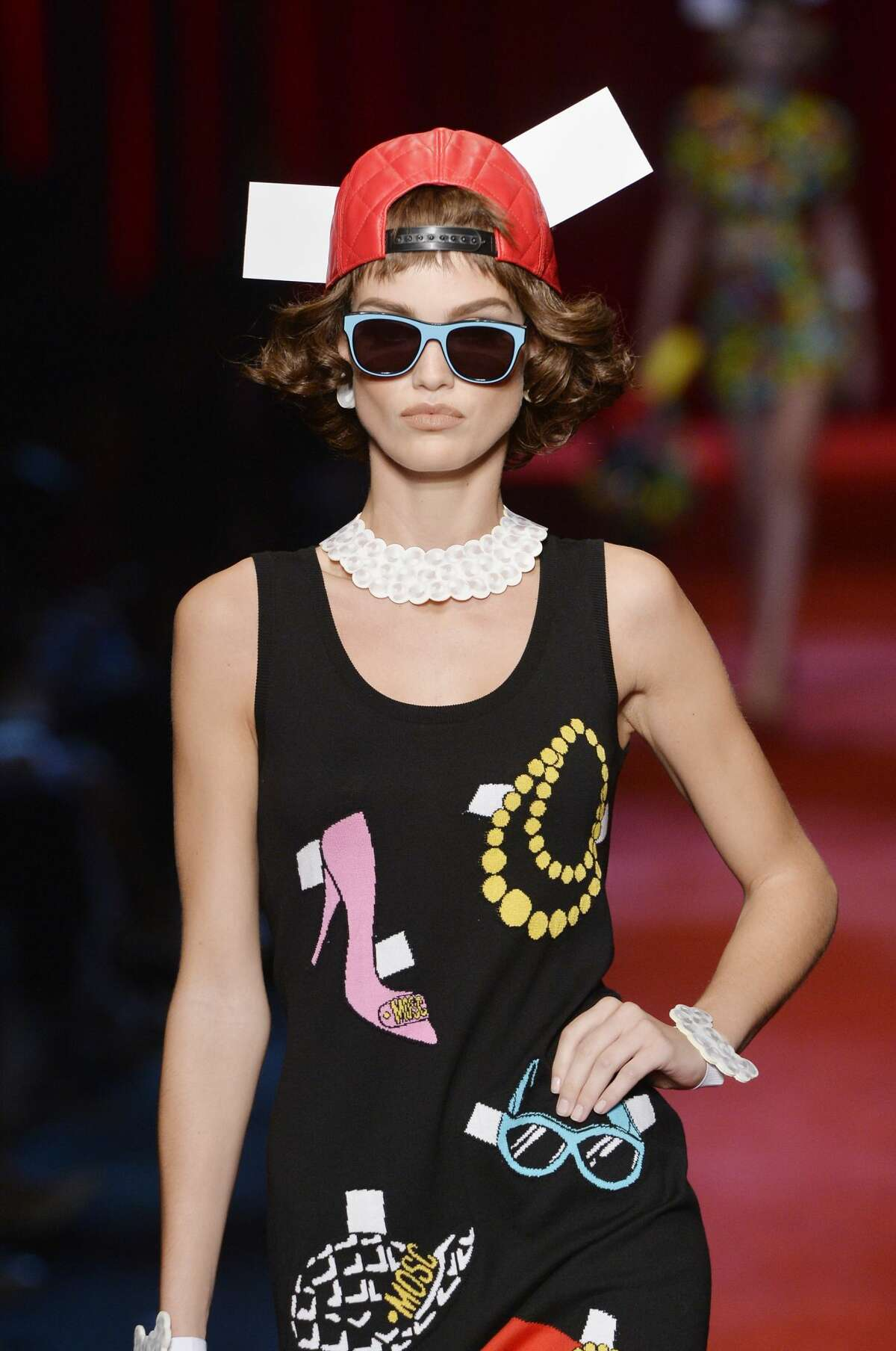 MILAN, ITALY - SEPTEMBER 22: A model walks the runway at the Moschino Spring Summer 2017 fashion show during Milan Fashion Week on September 22, 2016 in Milan, Italy. (Photo by Catwalking/Getty Images)